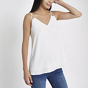 White split strap cami top