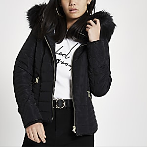 cd798850e508e Black faux fur hood long sleeve padded jacket