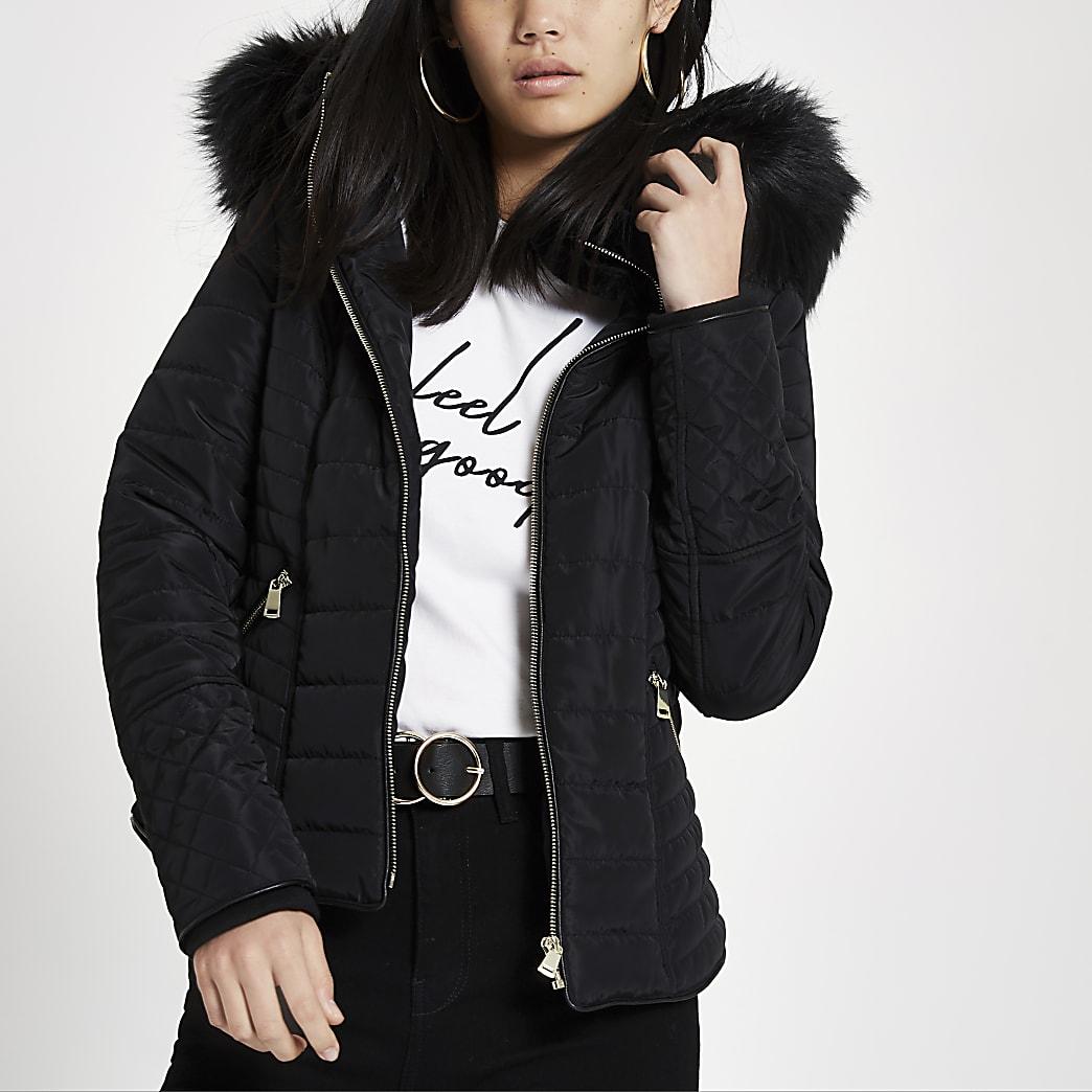 Black faux fur hood long sleeve padded jacket