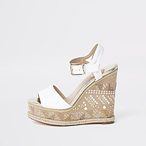 White embellished espadrille wedge sandals