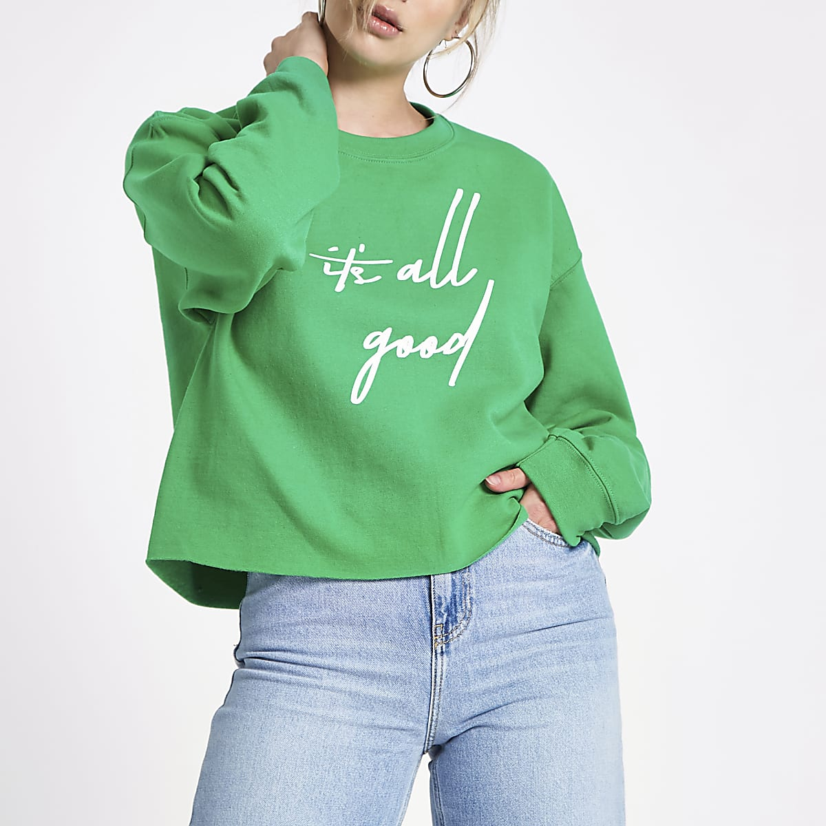 Green 'it's all good' print jumper