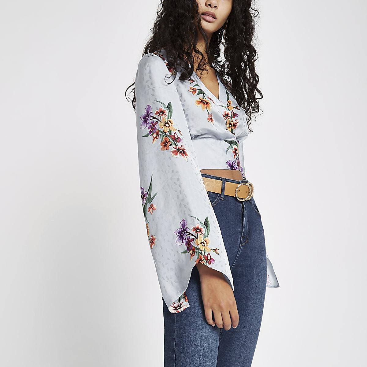 800fc20f351b1 Grey floral wrap kimono sleeve crop top - Crop Tops   Bralets - Tops - women