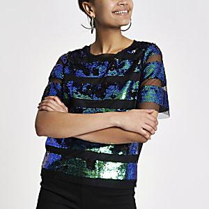 Green mesh sequin embellished T-shirt