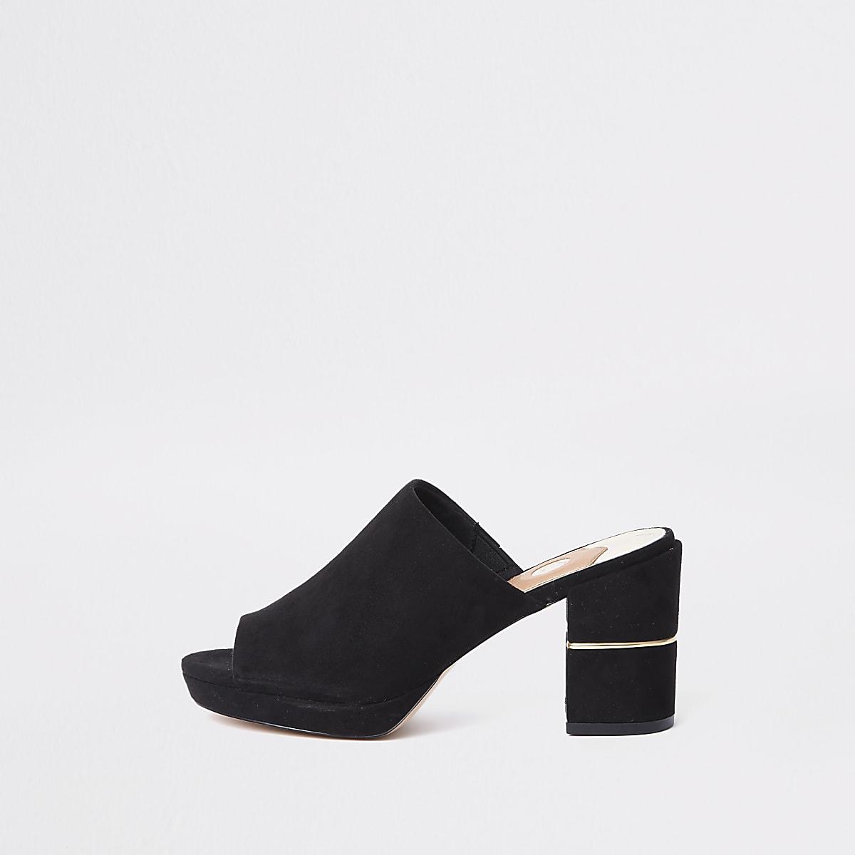 Black platform block heel mule