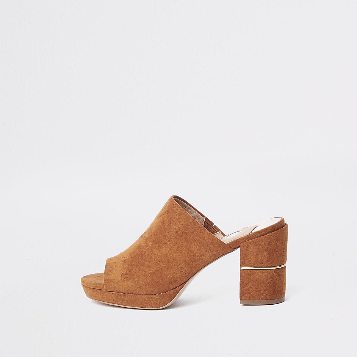 Brown platform block heel mule
