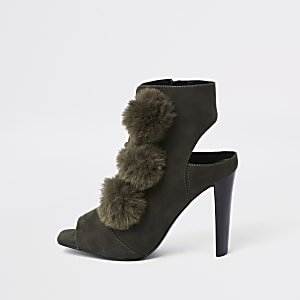 Khaki faux fur pom pom open toe shoe boot