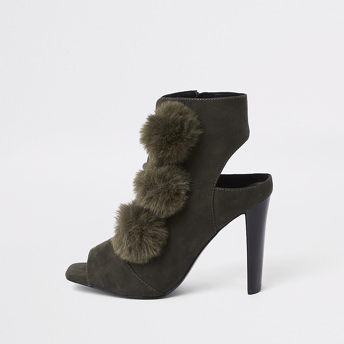 Khaki faux fur pom pom open toe shoe boot