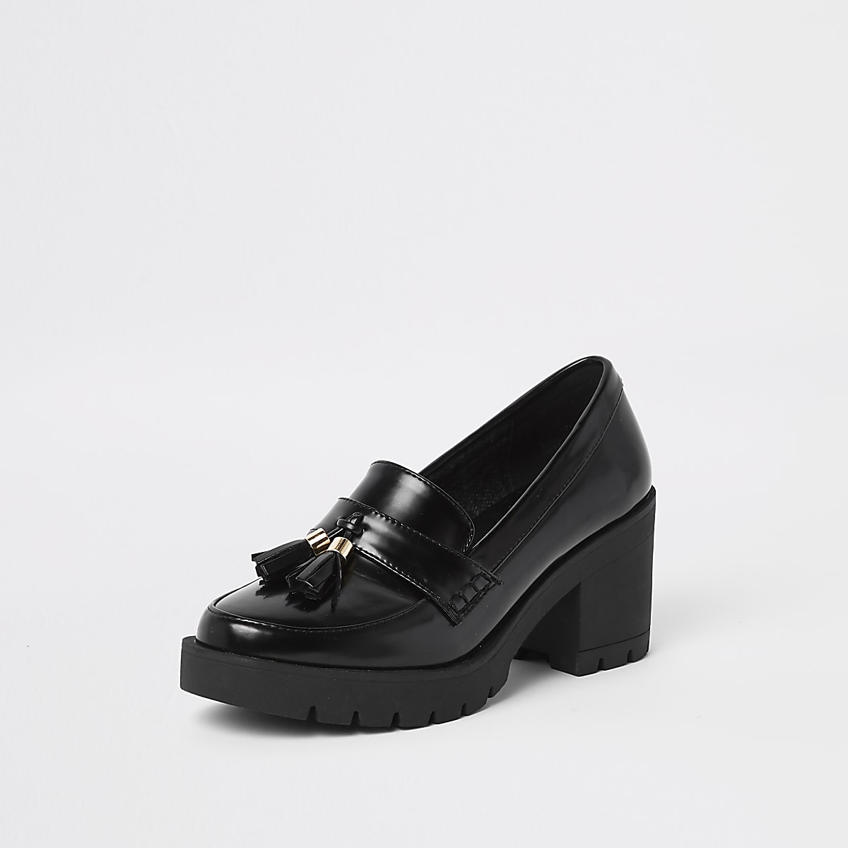 8ddbb842791b Black chunky tassel block heel loafers - Shoes - Shoes   Boots - women