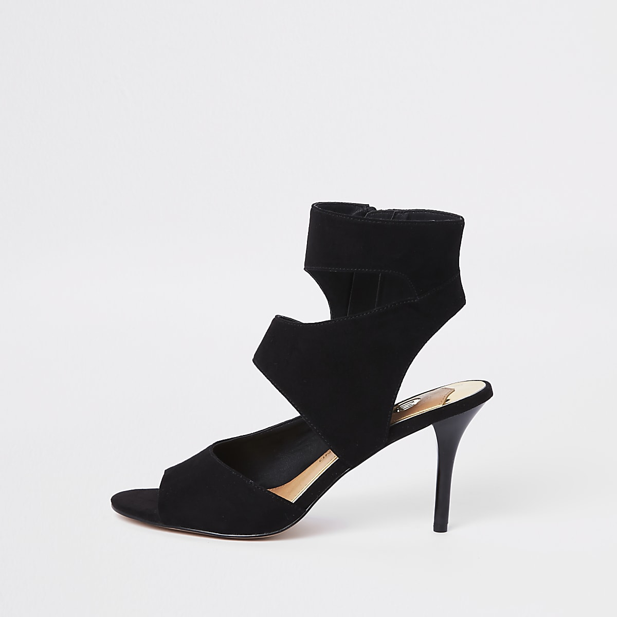 Black strap skinny heel mules