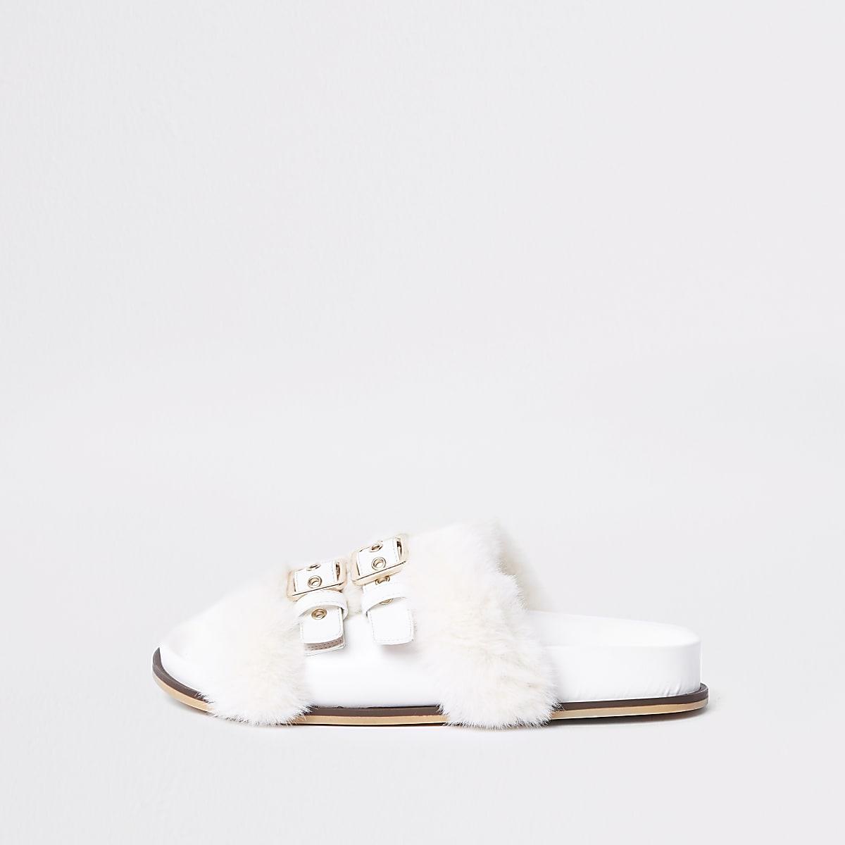 White buckle faux fur sliders