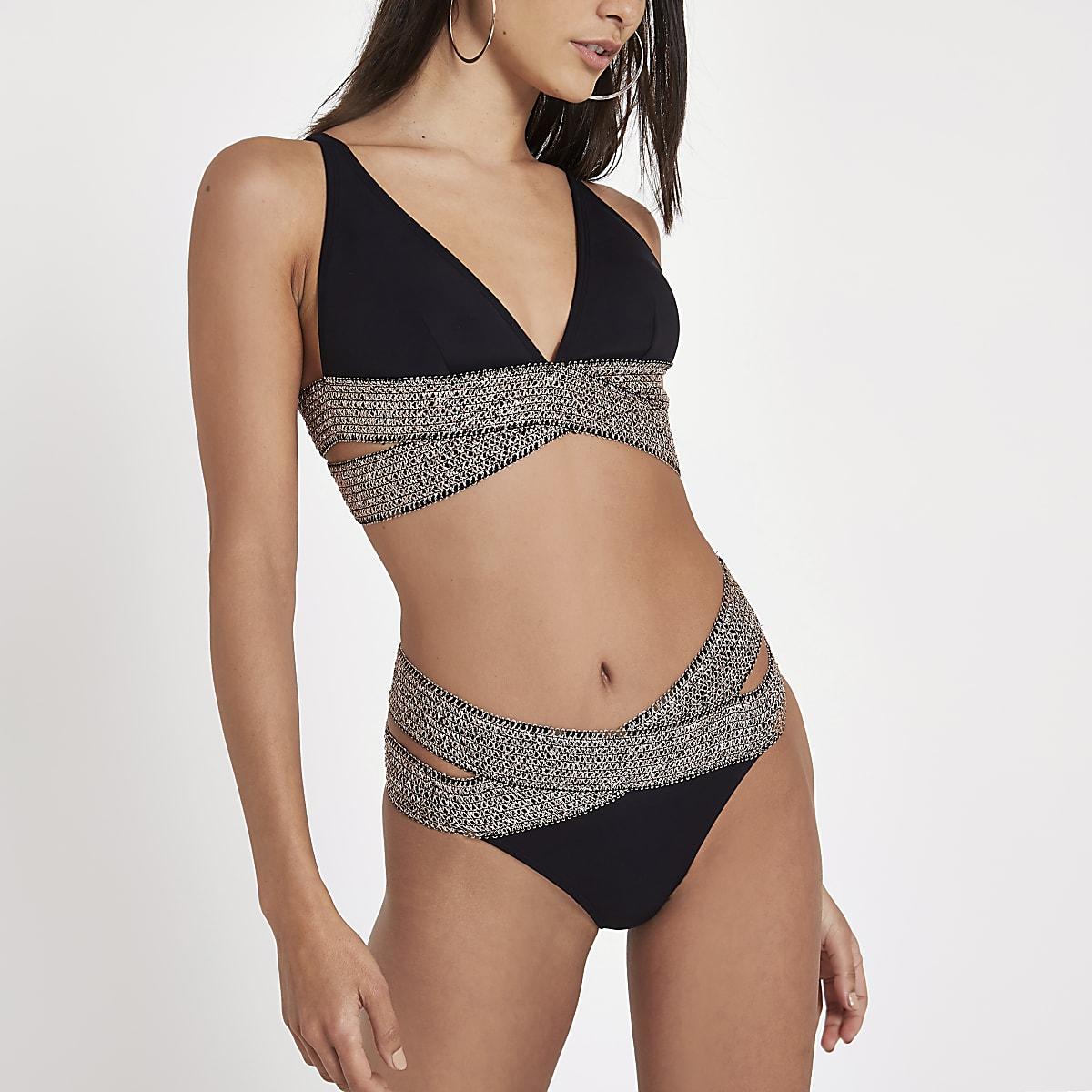 Zwart metallic elastisch hoog uitgesneden bikinibroekje
