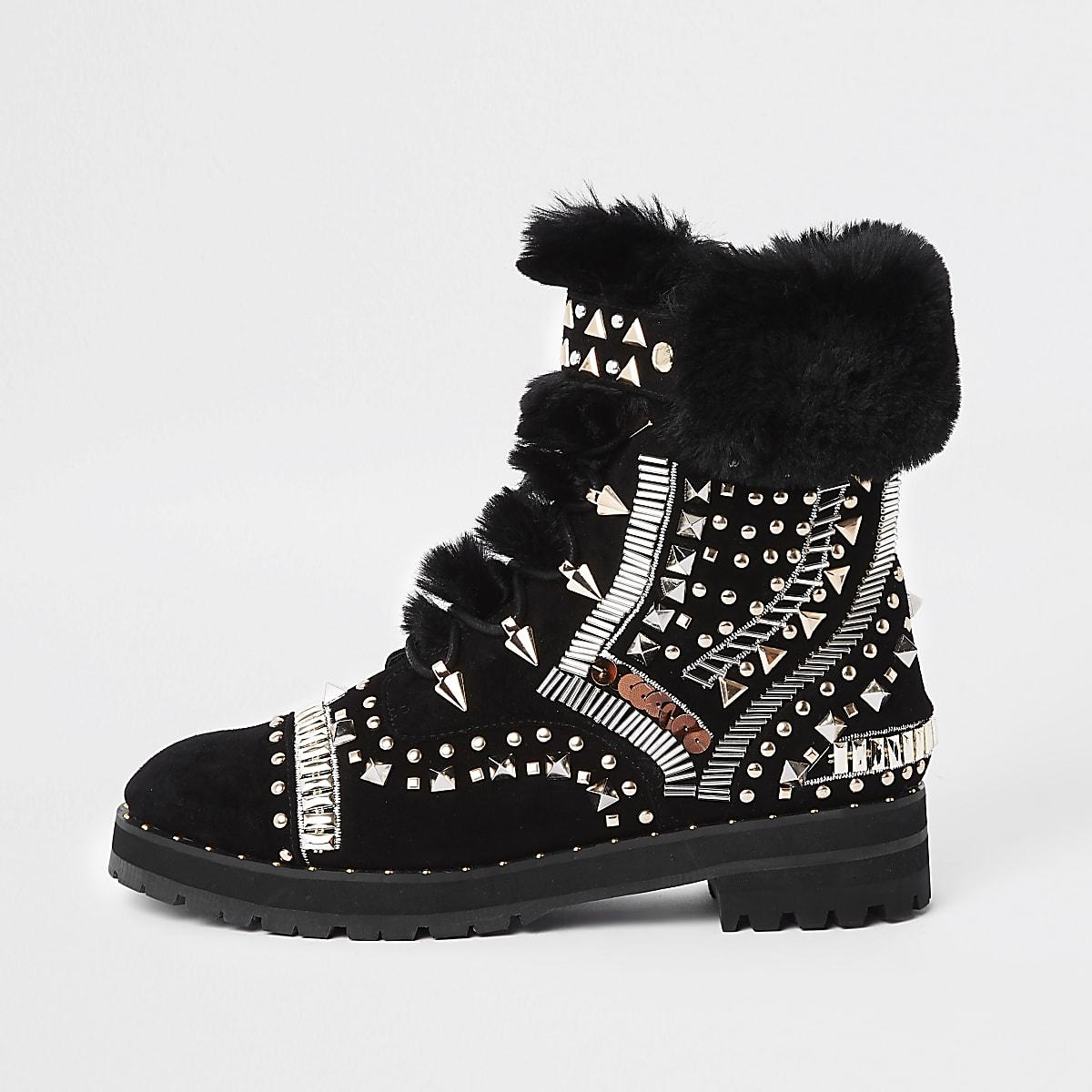 c5c2b8bfb346b RI 30 black faux fur trim embellished boots - Boots - Shoes   Boots - women
