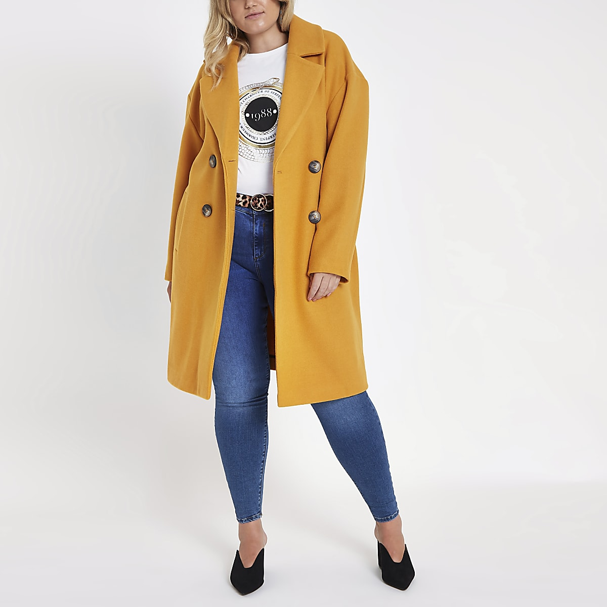 Plus Yellow long double breasted coat
