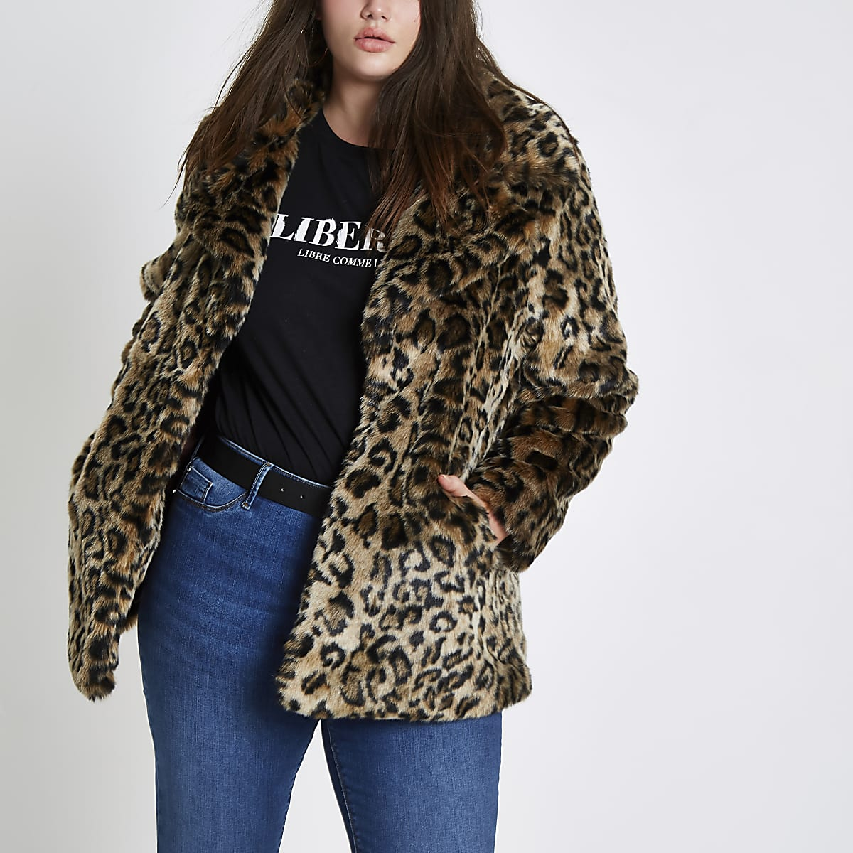 996b31da8f02 Plus leopard print faux fur coat - Coats - Coats & Jackets - women