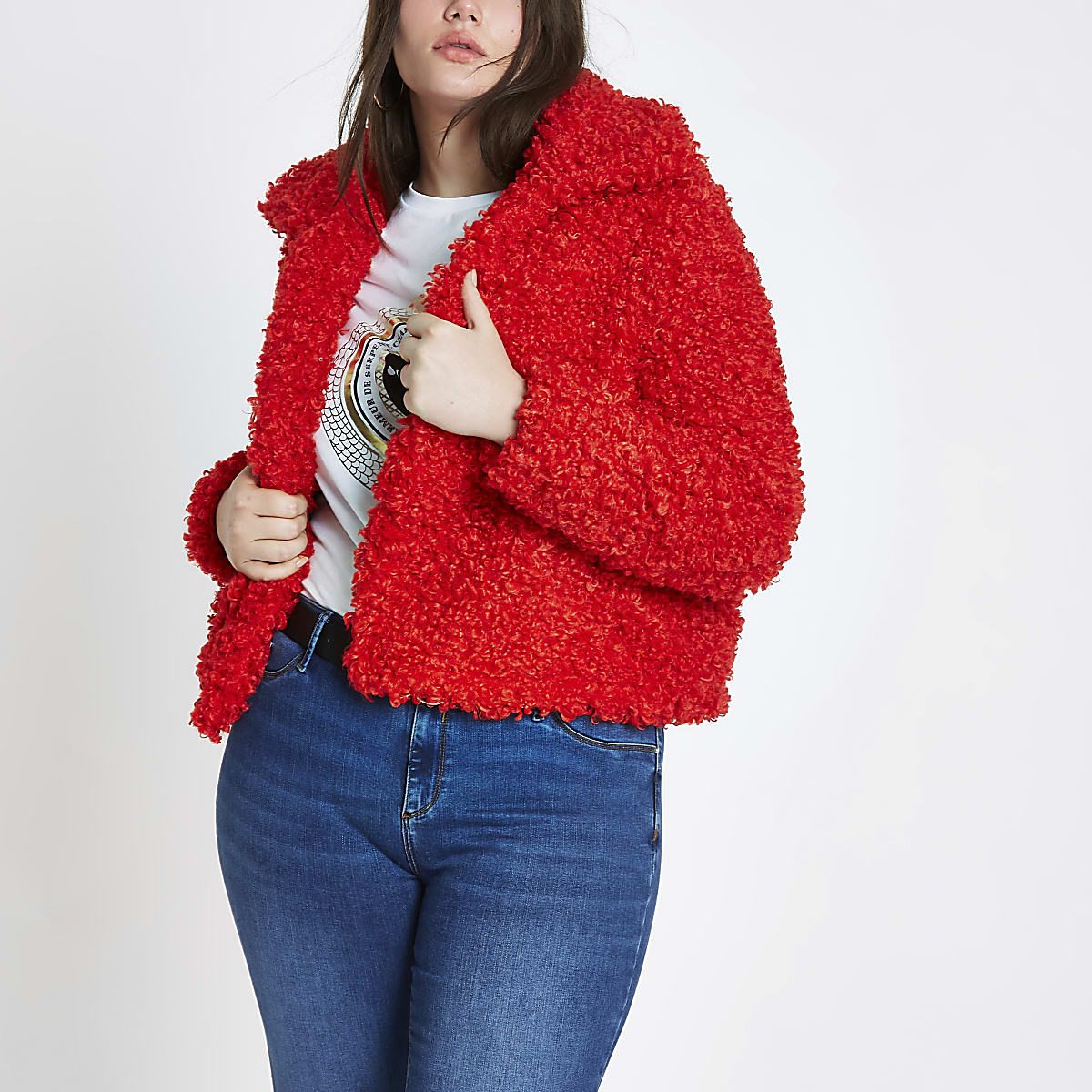 Red Jacket Cropped Shearling Plus Faux Fur BoerxdCW