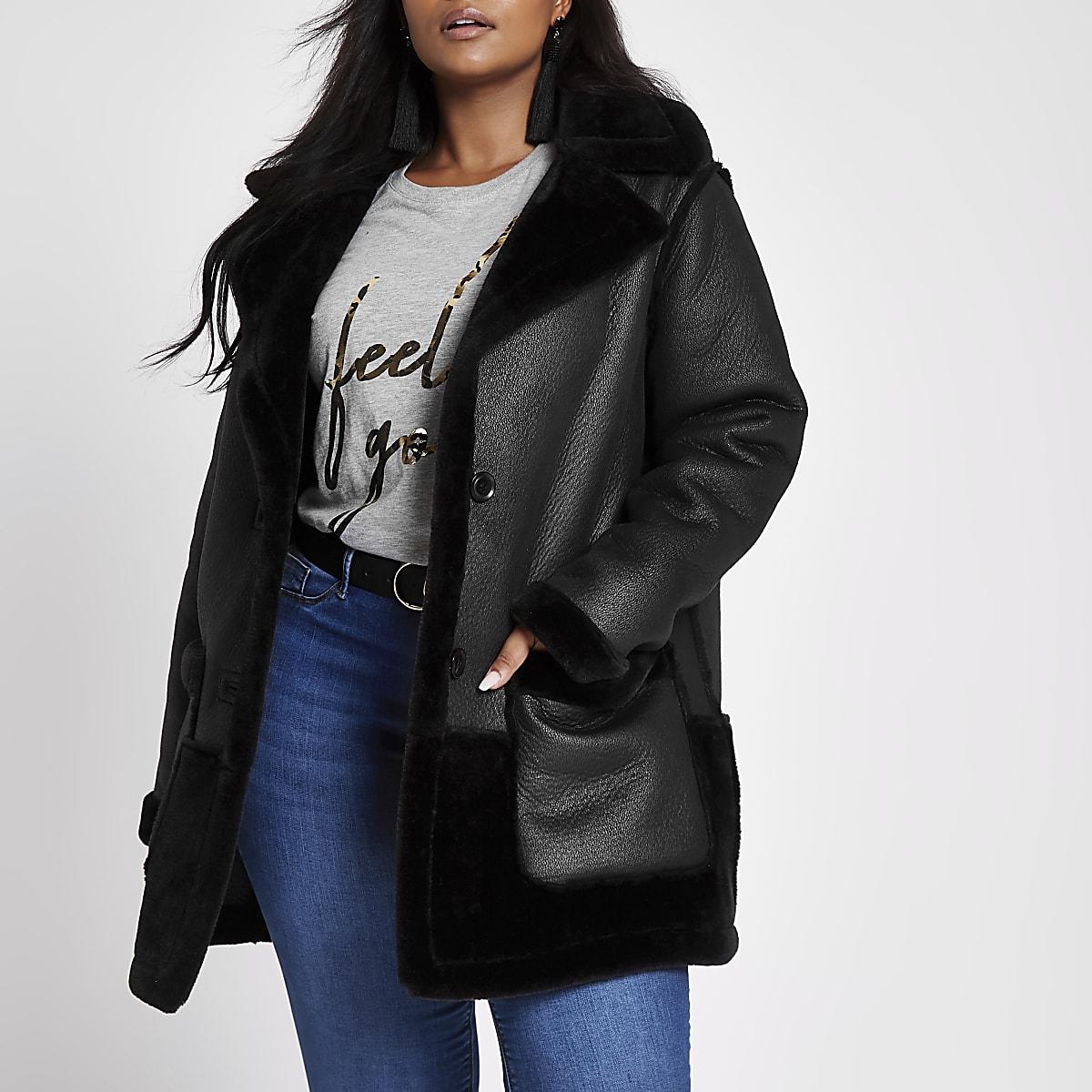 Plus black faux fur reversible coat