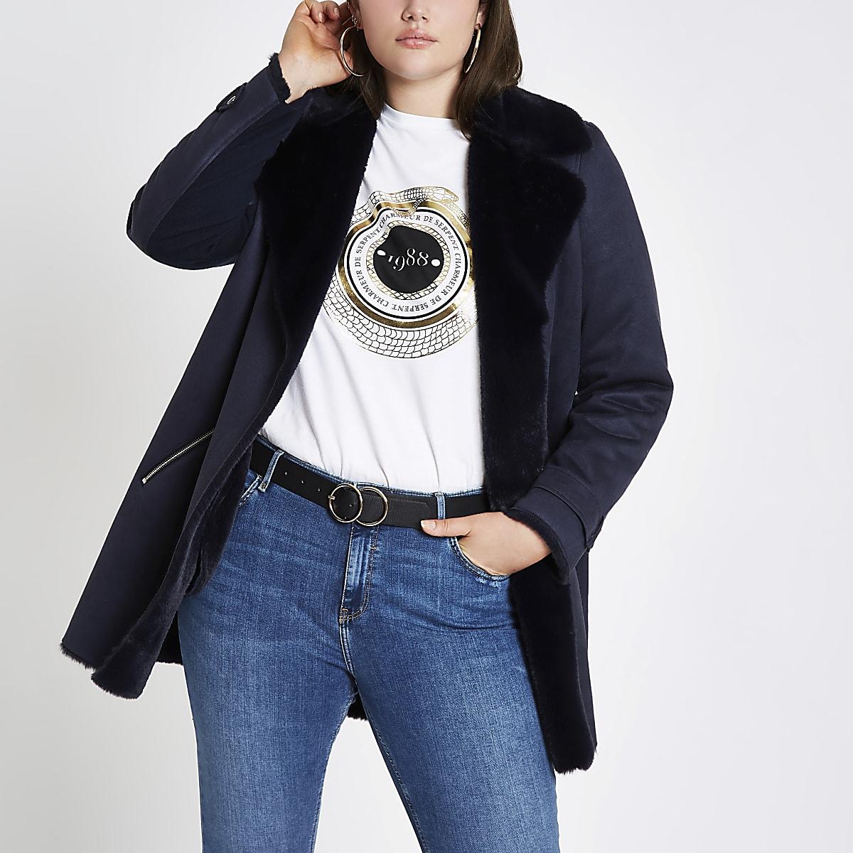 Plus navy faux fur lined fallaway jacket