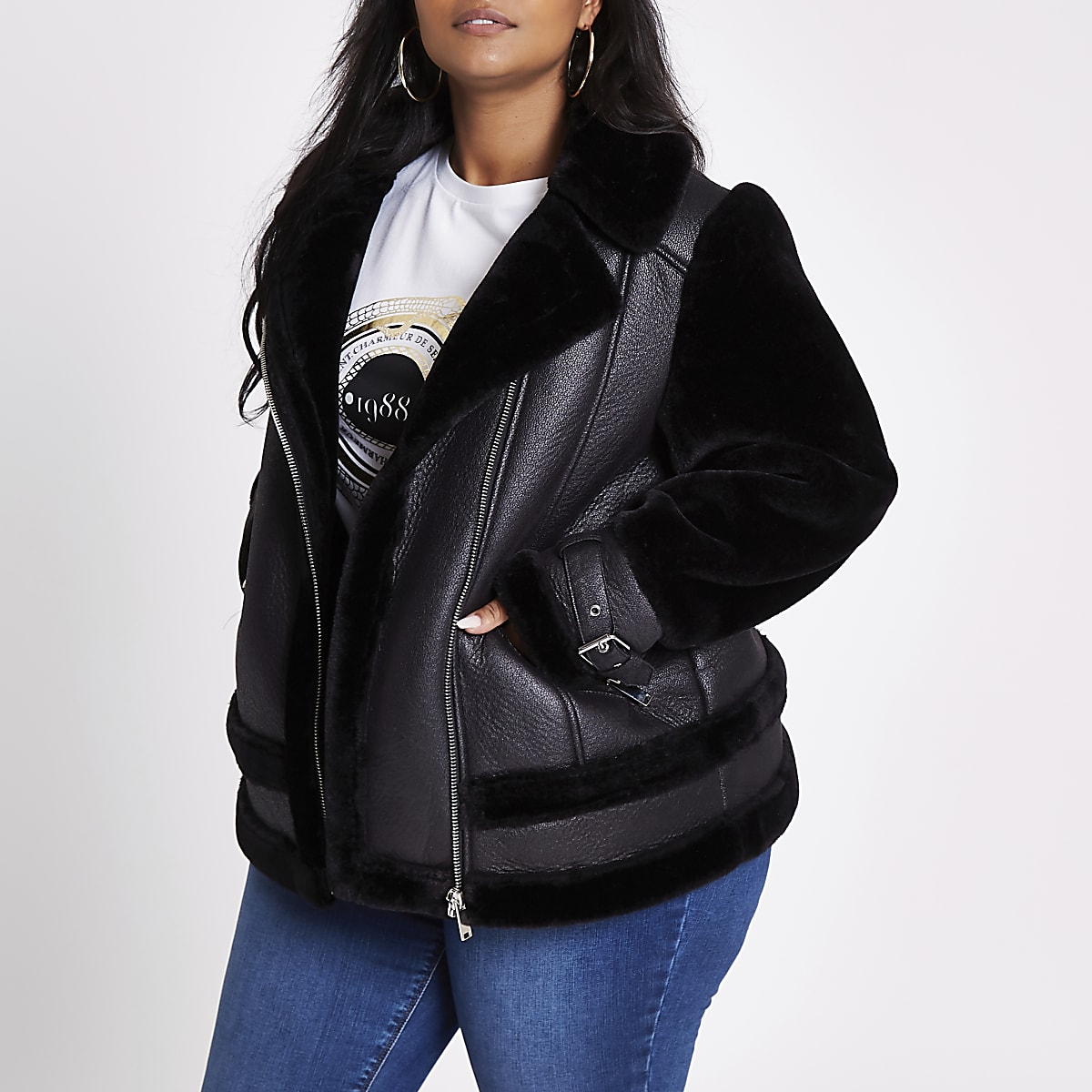Plus black faux fur aviator jacket