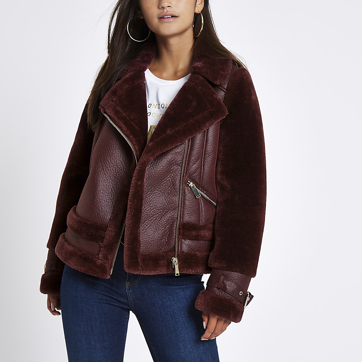 Petite dark red faux fur aviator jacket