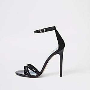 Sandales minimalistes noires à brides croisées