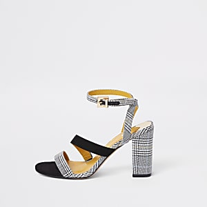 Grey check strappy asymmetric sandals