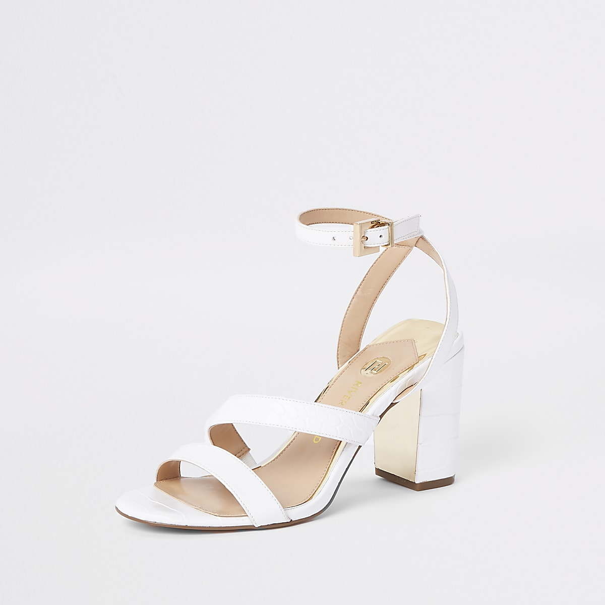 6a4ef48c5fb White asymmetric strappy block heel sandals - Sandals - Shoes ...