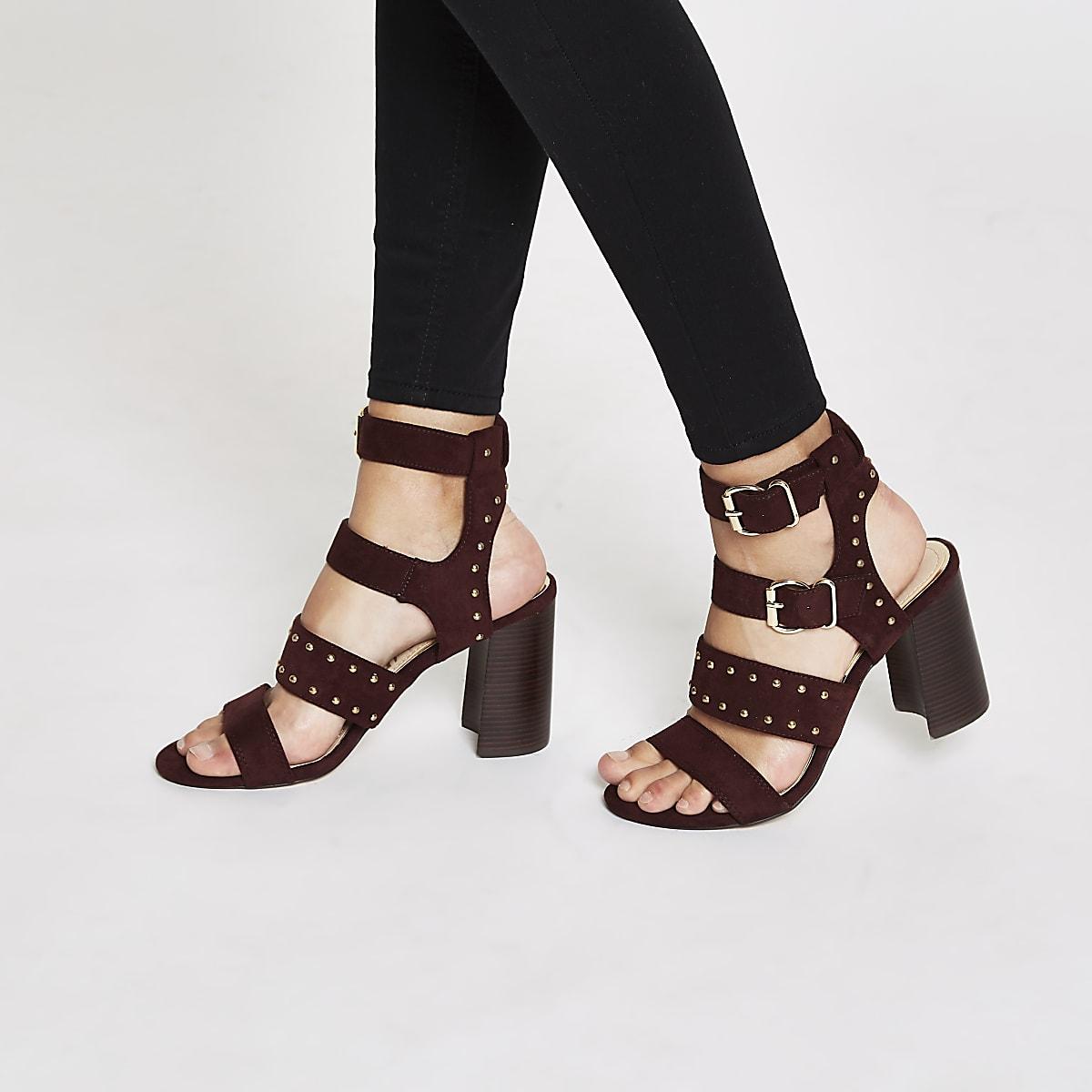 eca9c768874 Dark red suede studded block heel sandals