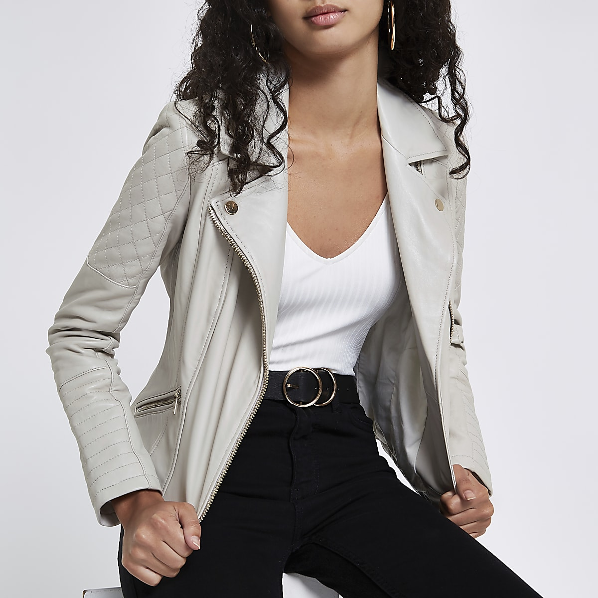Cream leather quilted biker jacket
