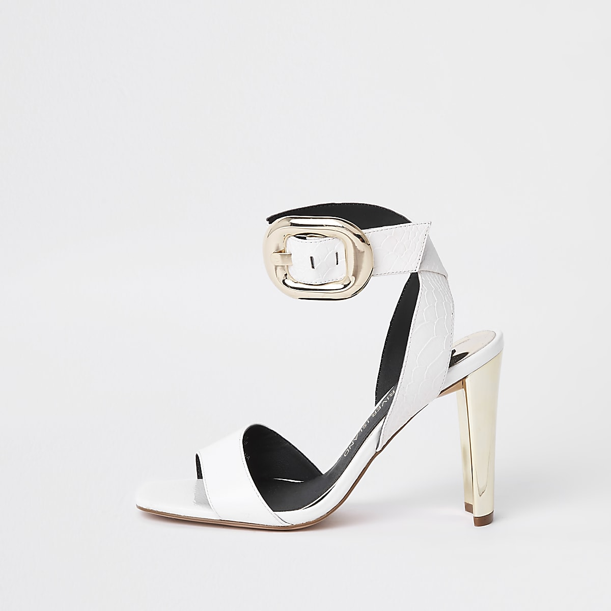 White croc block buckle sandal
