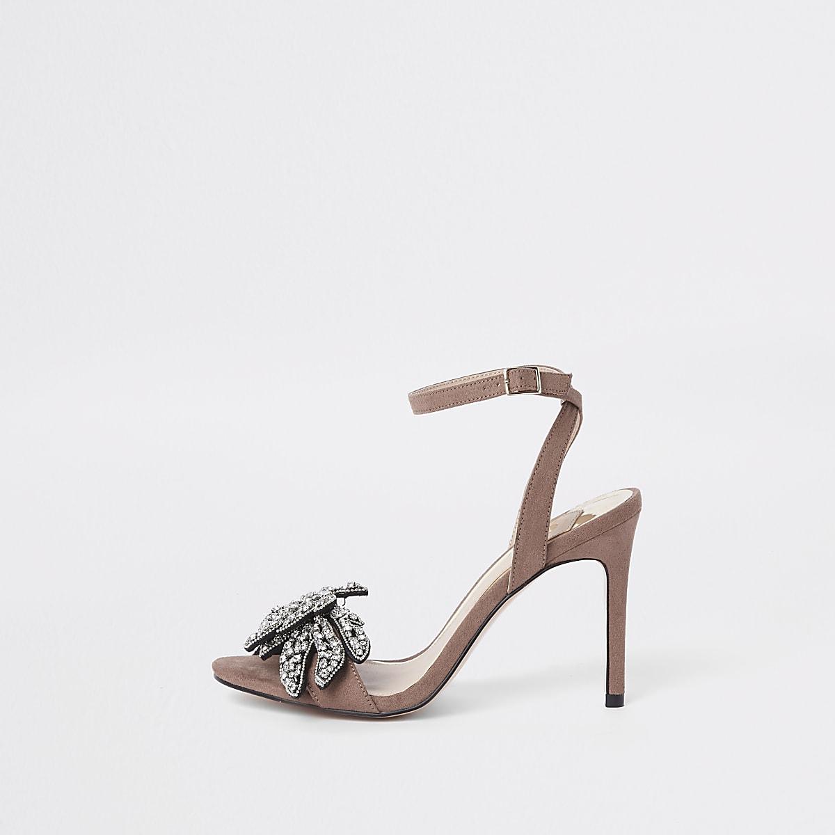 Roze verfraaide minimalistische sandalen met diamantjes