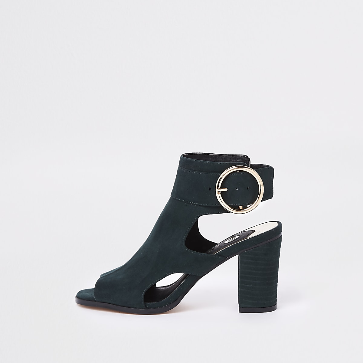 Green faux suede circle buckle shoe boots