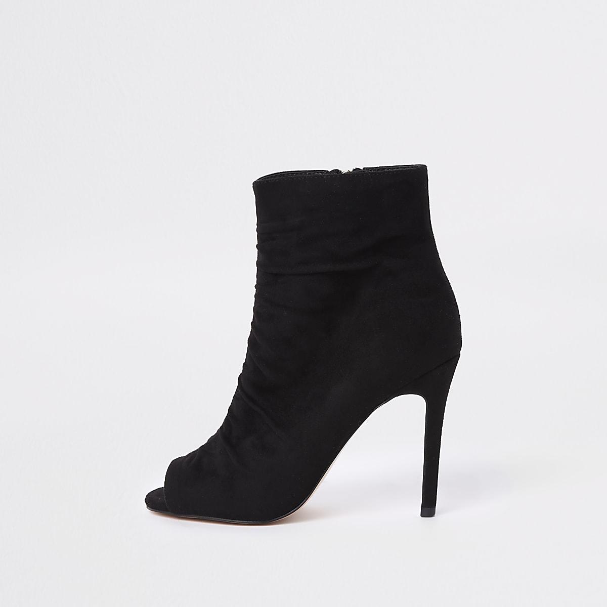 Black faux suede open toe shoe boot