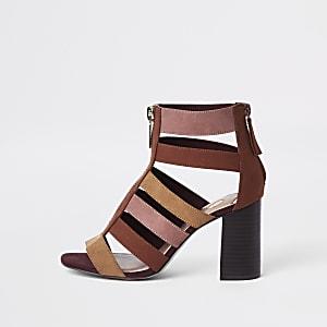 Beige colour block caged block heel