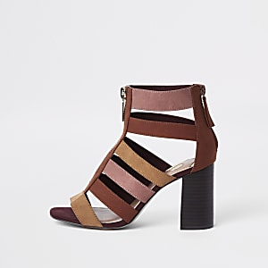 Beige color block caged block heel