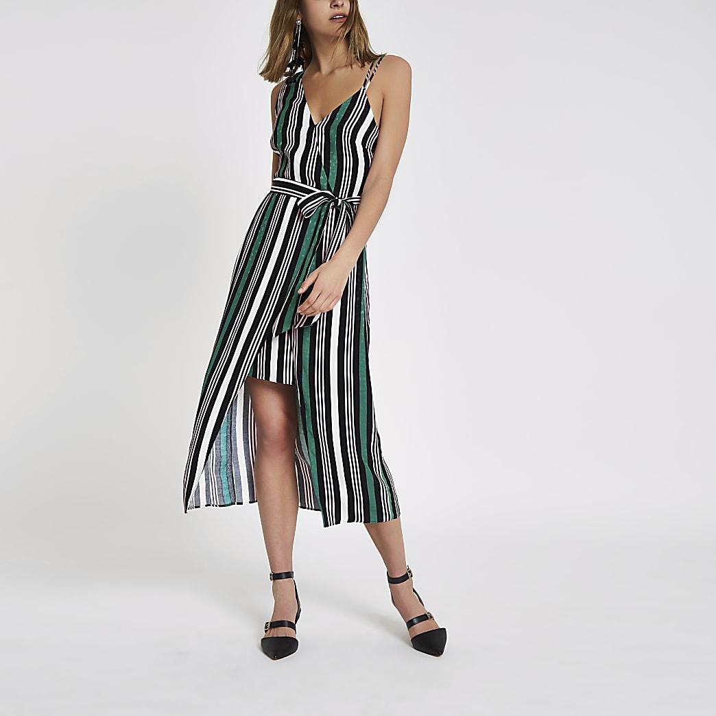Robe mi-longue asymétrique à rayures verte