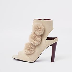Cream pom pom shoe boots