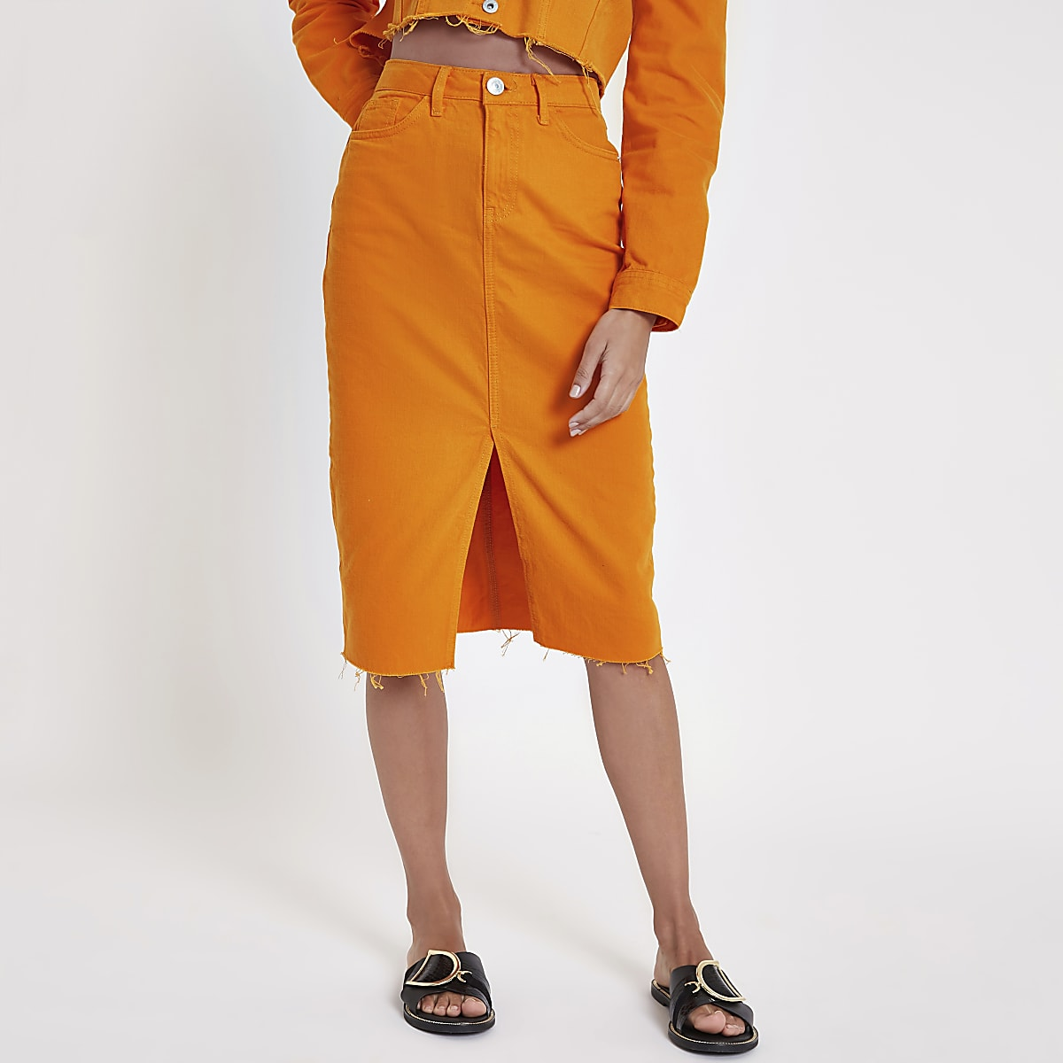 Orange denim pencil skirt