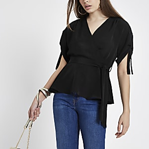 Black wrap side ruched sleeve top