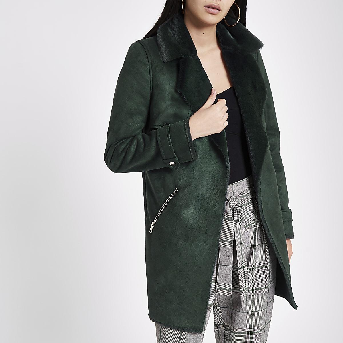 8d7c885e1 Dark green faux suede fallaway jacket