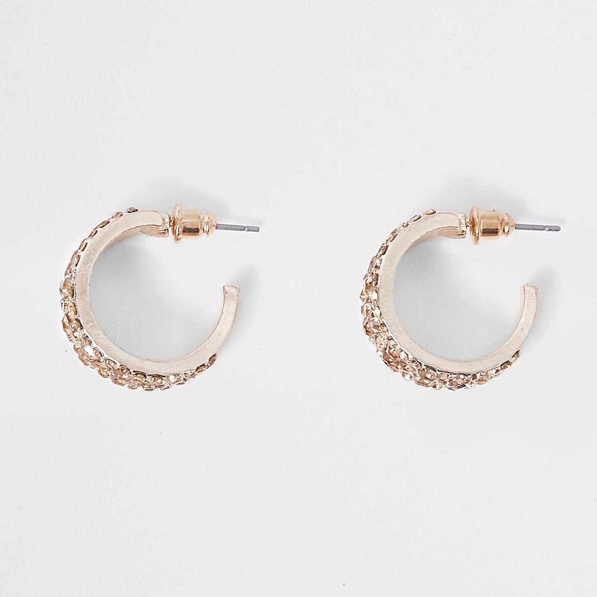 71f782957 Rose gold tone diamante chunky hoop earrings - Earrings - Jewellery - women