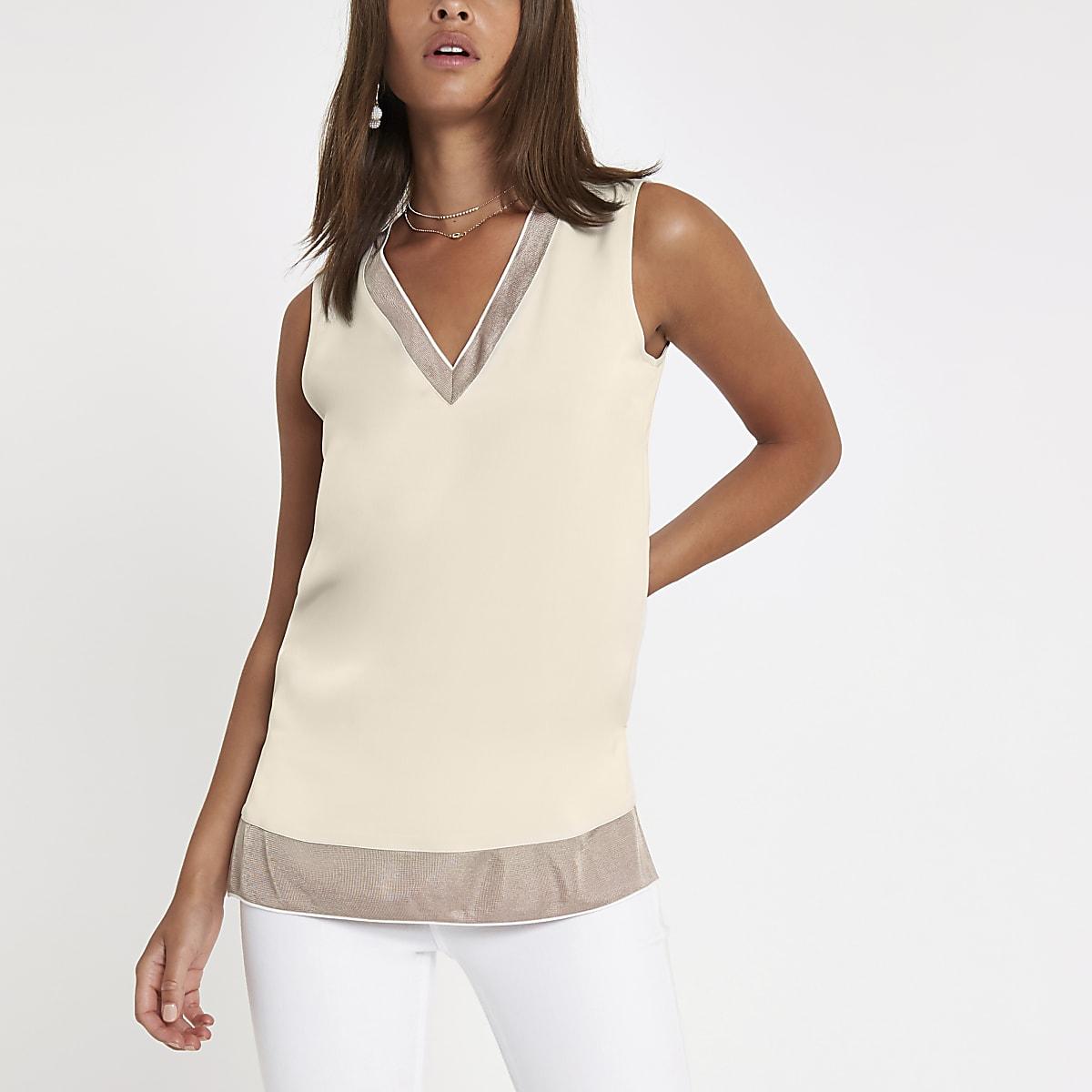 c9ea64c5f2c Cream ribbed V neck tunic top - Blouses - Tops - women