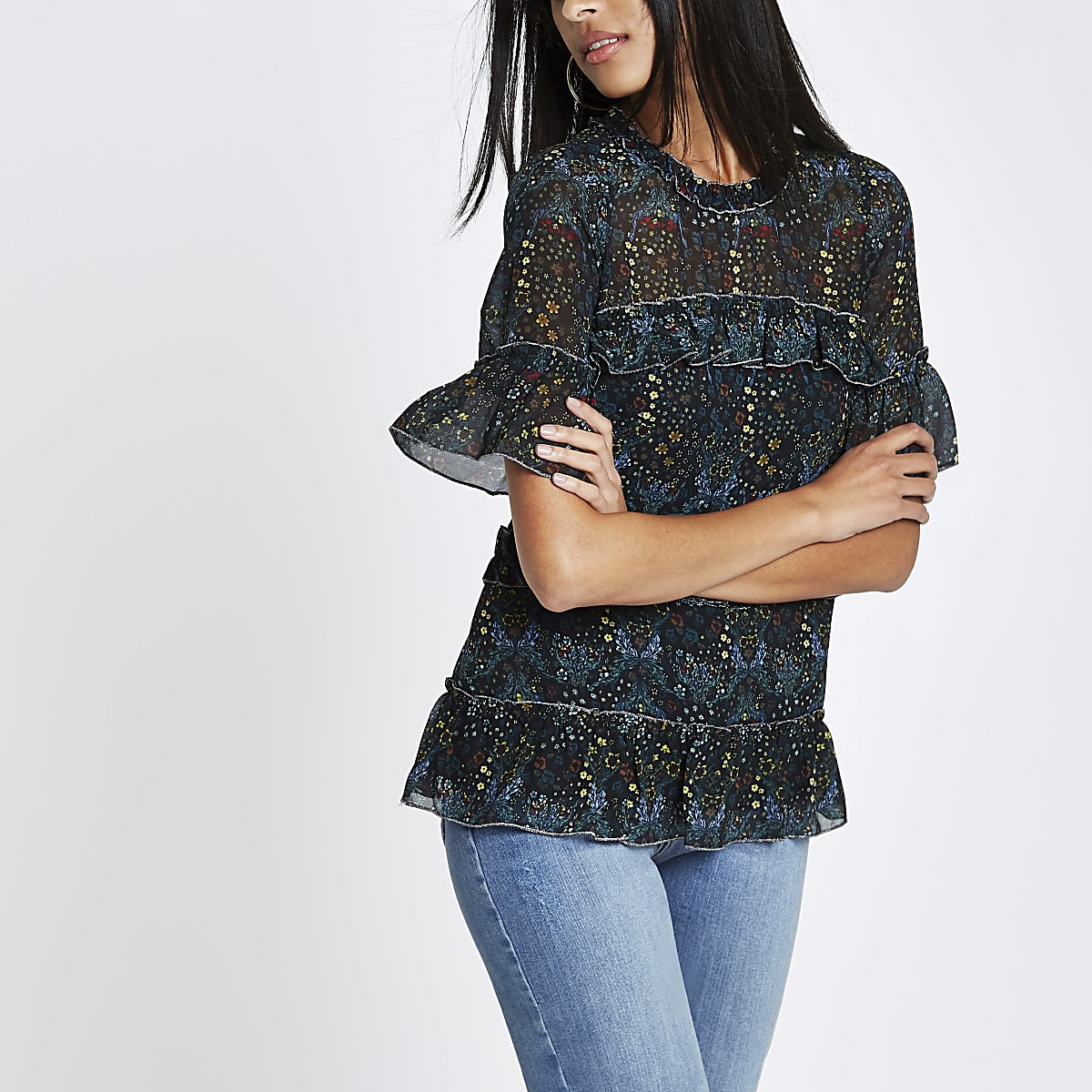 Black floral frill top