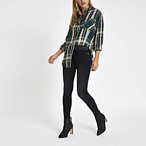 Green check print embellished shirt