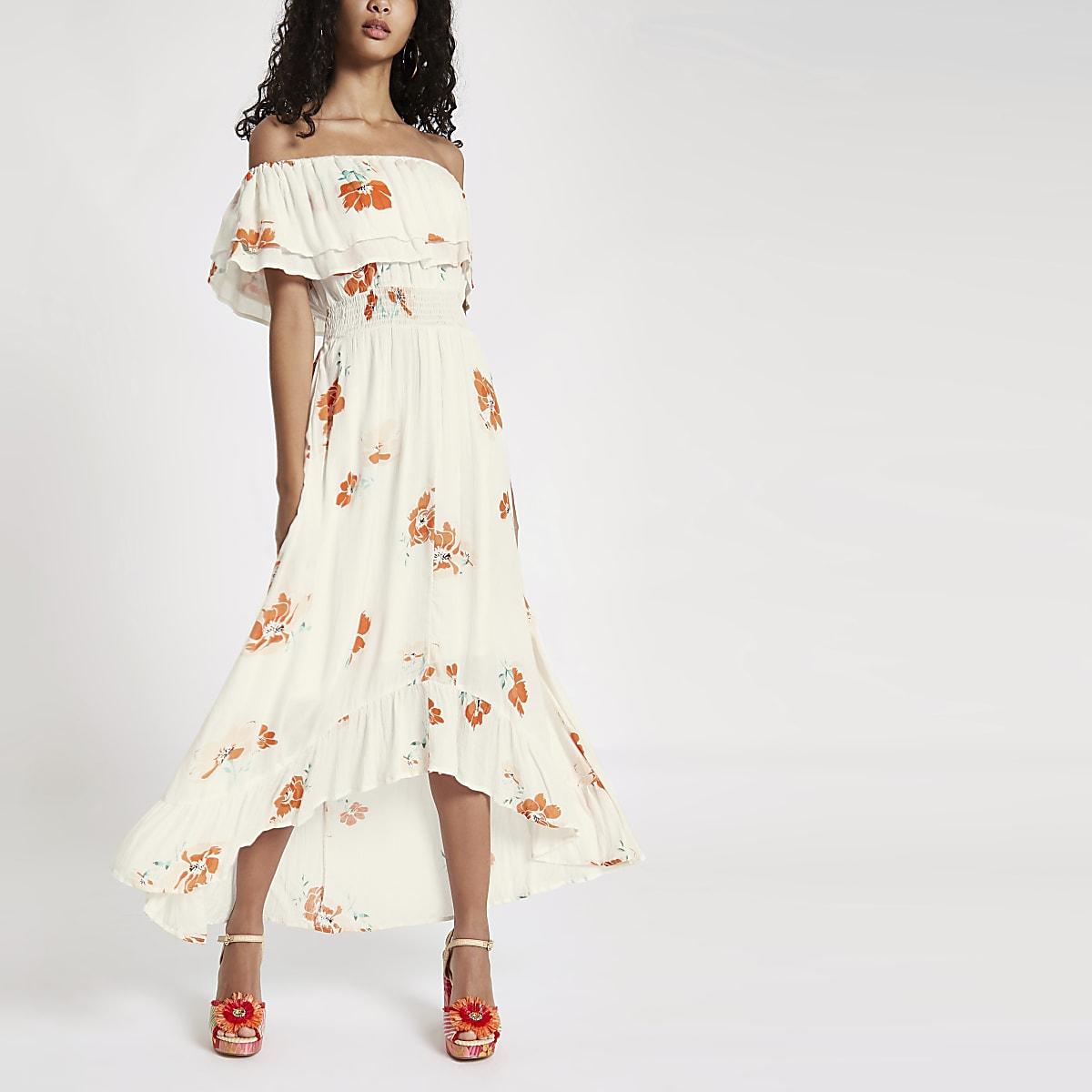 Cream floral print high low hem maxi dress