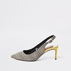 Grey check wide fit slingback court shoes