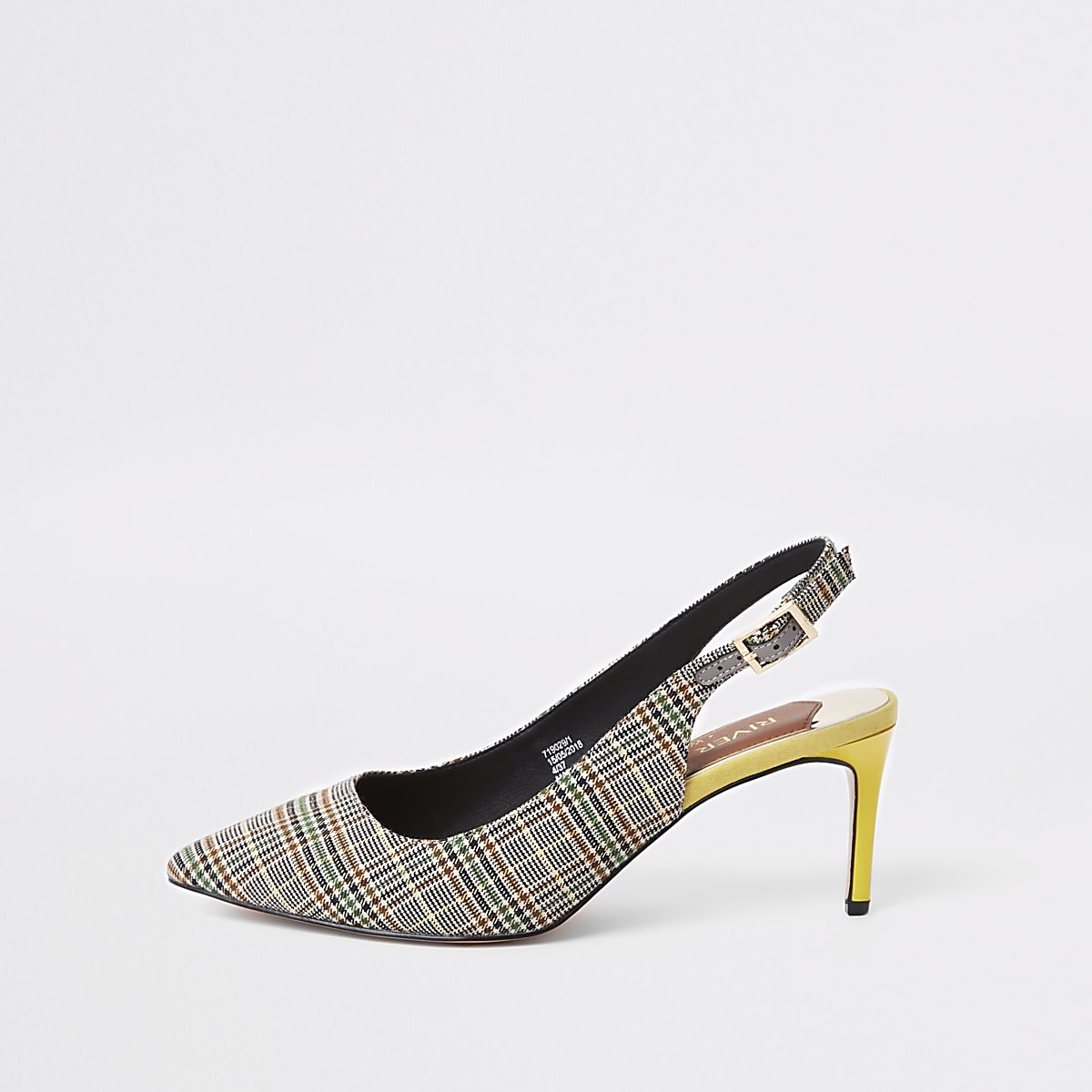 Grey check wide fit slingback pumps