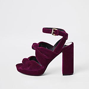 Sandales compensées roses avec nœud en velours