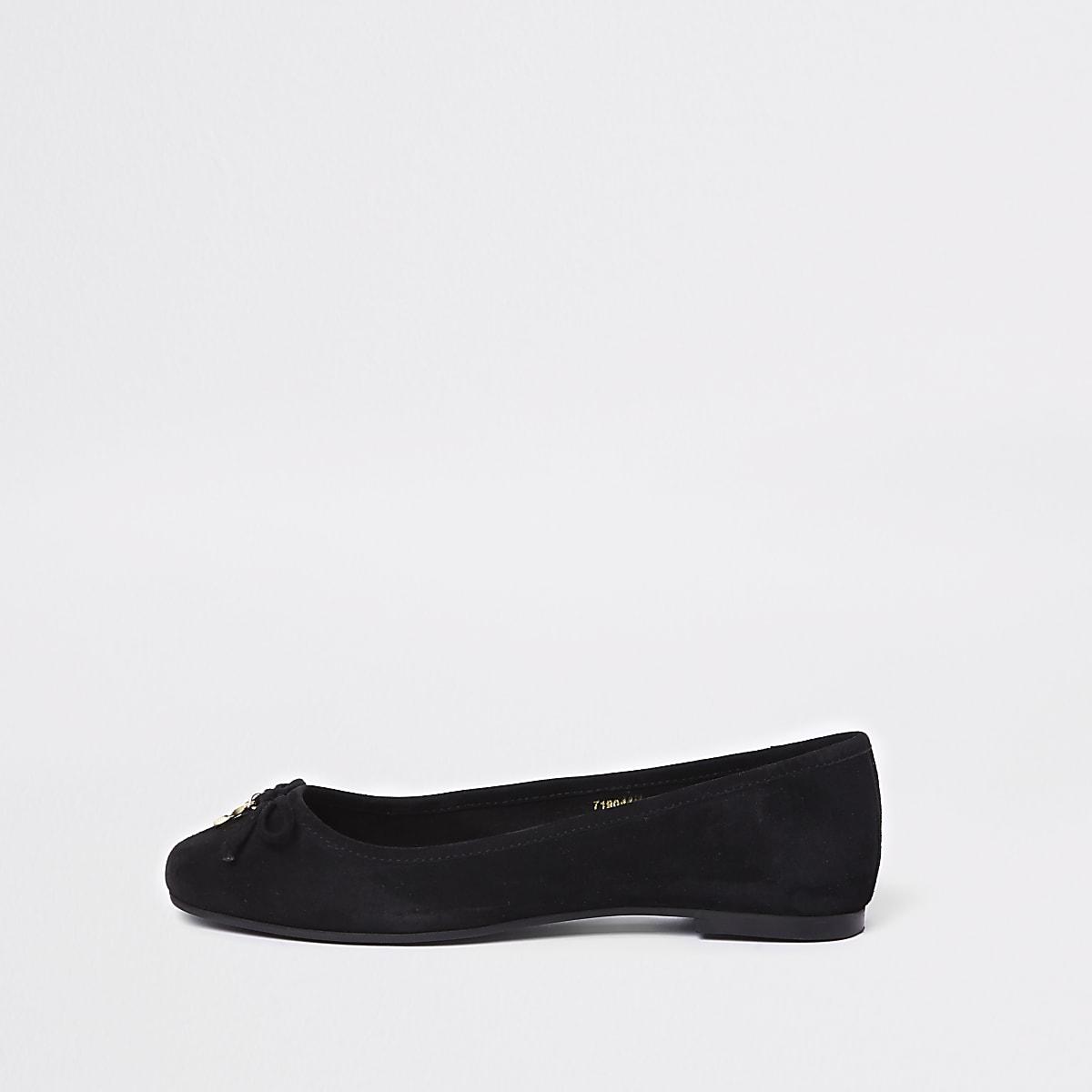 Zwarte suède loafers met strik