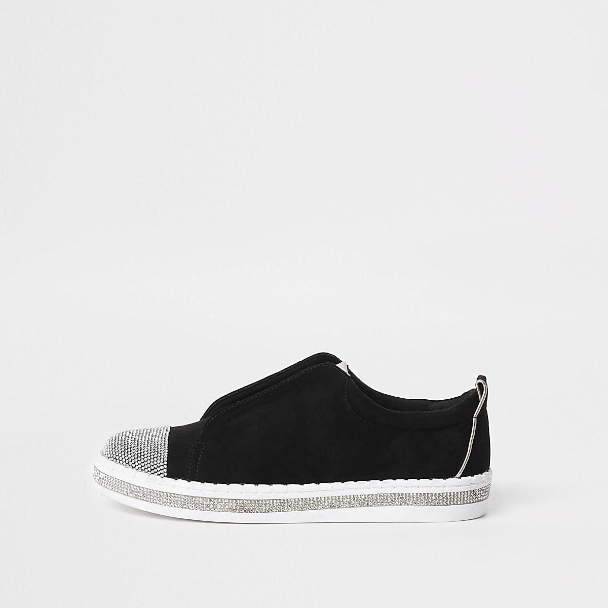 Black wide fit rhinestone embellished sneakers
