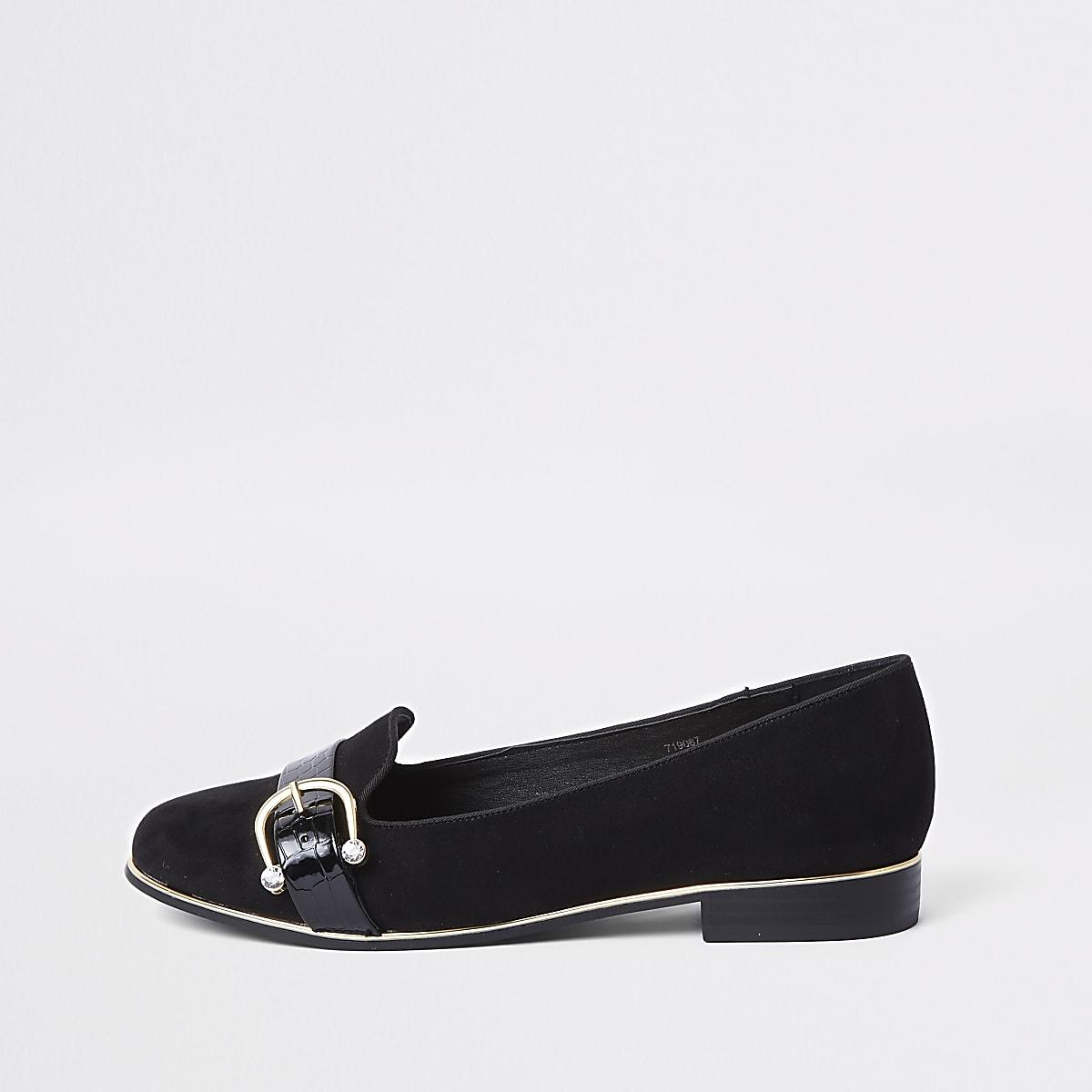 Zwarte loafers met gesp met siersteentjes